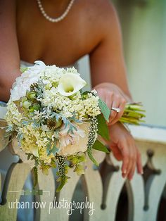 June bouquet designed by Local Color Flowers filled with locally grown hydrangeas, calla lilies, gooseneck loosestrife, peonies and dusty miller