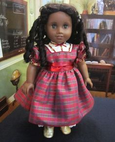 18 Inch Doll Clothes for American Girl Dolls - A Christmas Dress and Pantalettes for Cecile, Marie-Grace, or Addy