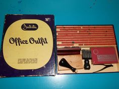 Vintage Justrite Office Outfit Rubber Stamping Kit All Original