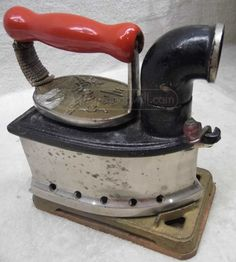 Antique Asian Steam Iron w/ Iron Holder