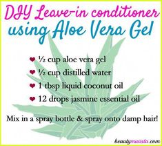 Make your own DIY aloe vera leave-in conditioner to improve your hair's textur. Make your own DIY aloe vera leave-in conditioner to improve your hair's texture and moisture-retention! Natural Beauty Tips, Natural Hair Care, Natural Hair Styles, Natural Makeup, Organic Beauty, Aloe Vera For Hair, Aloe Vera Gel, Relaxed Hair, Makeup Tricks