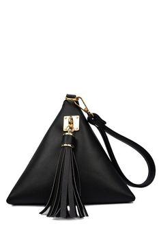 Solid Color Triangle Shape Tassel Clutch Bag BLACK: Bags | ZAFUL