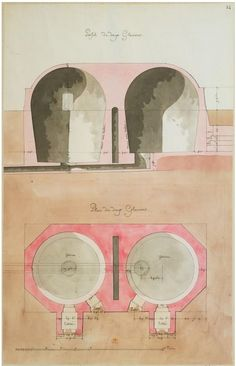 jean-jacques lequeu - French architect - 1750-1773. design for ice-making - profil de deux glacières.