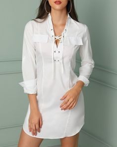 ivrose / Sexy Lace-up Grommet Patchwork Casual T-shirt Dress Sexy Shirts, Casual T Shirts, Sexy Dresses, Casual Dresses, Casual T Shirt Dress, T Shirt Dresses, Trendy Outfits, Fashion Outfits, Womens Fashion Online