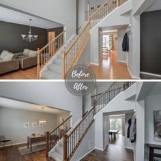 @sebringdesignbuild posted to Instagram: And on the 4th day of Christmas, Sebring brought to me a staircase transformation 😻 With darker stain and lighter shades of grey, Santa may skip the chimney and take the stairs this year 🎅. What do you think about 2019's 9th best post?  #dreamhome #remodel #renovation #before #transformation #staircase #teamsebring #homesweethome #modernhome #sebringdesignbuild #happyholidays #before/after #interiordesign #chicagoland #chicagodesigner