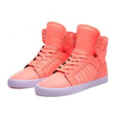 Too Hot Not to Cop Supra Skytop Kicks in Neon Coral ❤ liked on Polyvore featuring shoes