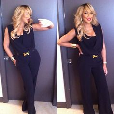 Tamar Braxton in One by & Mercer Black Jumpsuit and Hermès Belt Tamar Braxton, Style Outfits, Cute Outfits, Black Outfits, Woman Outfits, Fall Outfits, Hermes Belt, Sanaa Lathan, Amy Winehouse