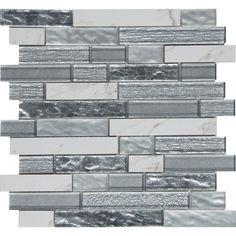 MS International Whistler Ice Interlocking 11.81 in. x 12 in. x 8 mm Glass Mesh-Mounted Mosaic Tile (9.7 sq. ft. / case), Gray