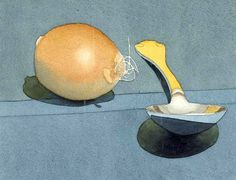 Mark Adams (American, 1925-2006) Onion and Spoon, 1979 - watercolor and pencil on paper