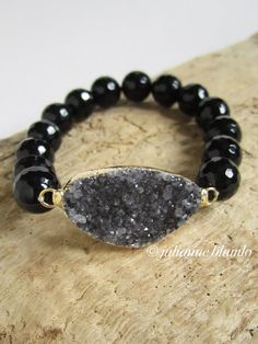 Druzy Bracelet Drusy Quartz Black Onyx Beaded by julianneblumlo