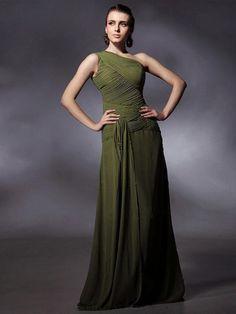 Sheath/Column One Shoulder Chiffon Floor-length Sleeveless Criss Cross Occassion Dresses at simplydresses.co.nz