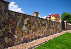 50 Ideas of Beautiful Fences in the Countryside, фото № 29 Fence Wall Design, Stone Wall Design, Modern Fence Design, Wall Tiles Design, Gate Design, Brick Fence, Concrete Fence, Compound Wall Design, House Outside Design