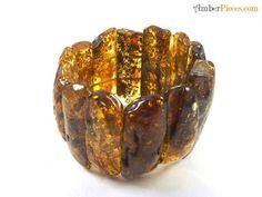 Fine Baltic Amber bracelet. Greenish color pieces.