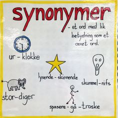 Synonymer Danish Language, Norway Language, Grammar Activities, Back 2 School, Classroom Walls, School Subjects, Kids Education, Kids Learning, Literacy