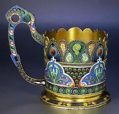 Antique Russian enamel tea glass holder.  I have one of these.  I'm assuming mine is a repro!