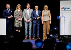 """Queen Maxima attended NLGroeit event in Halfweg. NLGroeit is a platform which supports small and medium sized enterprises. At the event, the Queen presented """"De Gouden Groeier"""" award to Jitse Groen who is among others founder of Takeaway.com/ March 28, 2018"""