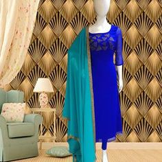 Buy Exotic Royal Blue Colored Partywear Pearl Work Stitched Georgette Churidar Suit for women's wear online India, best prices, affordable prices, best price online, Reviews - Peachmode Long Gown Dress, Anarkali Dress, Lehenga, Sarees, Salwar Designs, Kurti Designs Party Wear, Blouse Designs, Chudidhar Designs, Beautiful Suit