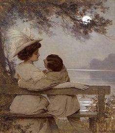Beers, Jan van (b,1852)- Lovers, Moonlight Night