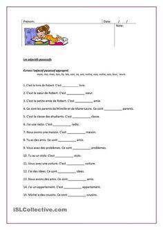 Fiche FLE - Grammaire: Les adjectifs possessifs. Fiche d'évaluation
