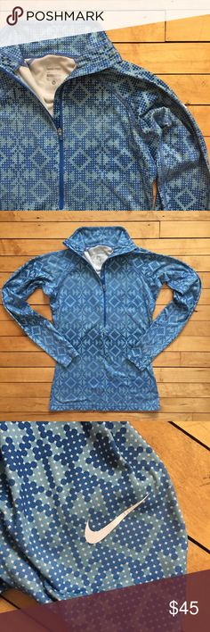 Nike Pro Blue Tribal Print Quarter Zip Sweater Blue tribal print Nike Pro sweater. Nike symbol on sleeve. Minor wear on the symbol as can be seen in picture. In excellent condition otherwise. Super soft inside and very warm. Low ballers will be ignored. No trades please. Nike Jackets & Coats