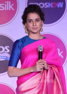 Kangana Ranaut in a pink saree and blue blouse at a promotional event for Tanu Weds Manu Returns. #Bollywood #Fashion #Style #Beauty