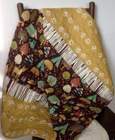 Rustic-Organic Baby Quilt, Gender Neutral, Modern Quilt, Fort Firefly, Critter Camp,Birch Fabric, Baby Bedding, Crib Bedding, Play mat