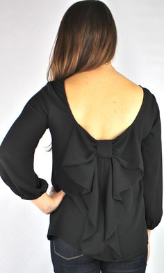 Bow Back Black Blouse Sweater Weather, Bon Look, Black Blouse, Bow Blouse, Up Girl, Girly Girl, Playing Dress Up, Dress Me Up, Passion For Fashion
