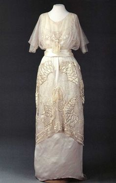 """Embroidered white tulle and satin evening dress by Nadezhda """"Hope"""" Lamanova, Russian, 1910."""