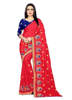 Classic Saree Embroidered Silk in Red Silk Sarees, Pink Color, Sari, Amazon, Stuff To Buy, Fashion, Saree, Moda, Amazons