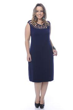 Vestido Plus Size Tranças Azul Marinho