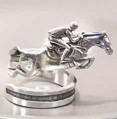 Horse Lady Gifts home & living decor, Jumping Horse Napkin Ring gift set of 4 handmade in pewter (silver color) Horse Jewelry, Jewelry Art, Women Jewelry, Unique Jewelry, Jewellery, Stainless Steel Chain, Silver Color, Napkin Rings, Pewter