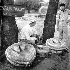 In the 1930s, some Glen Rose-area farmers sold dinosaur tracks they excavated from the Paluxy riverbed. (Photo courtesy of the Paluxy Valley Archives and Genealogy Society)