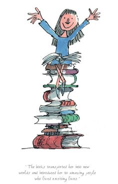 "Books Transported Her Into New Worlds(Matilda), Limited Edition Print by Quentin Blake, Illustrator of Roald Dahl's Books, Yard Gallery.  ""Arise Sir Quentin."""