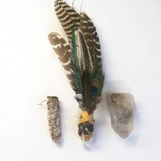 Healing or Ceremony Deer Leather wrap Peacock Large Smudging Fan for Ritual Rose Quartz Point