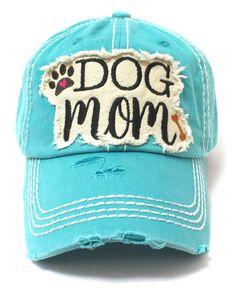 Turquoise Dog Mom Paw Print   Bone Vintage Cap f5e90324568