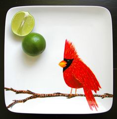 Red Cardinal Platter--Hand Painted by Mary Elizabeth Arts