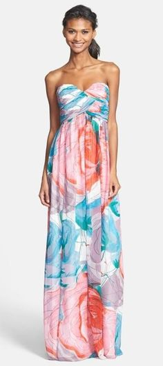Floral print bridesmaid dress in vibrant shades