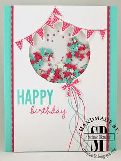 "SU ""Celebrate Today"" stamp and die set. Balloon strings hand drawn with markers. Sprinkles made from star confetti punch. Colors: Tempting Turquoise, Whisper White and Watermelon Wonder (?) Cute color combo, really sweet card. Bday Cards, Kids Birthday Cards, Homemade Birthday Cards, Homemade Cards, Tarjetas Diy, Shaker Cards, Kids Cards, Cute Cards, Creative Cards"