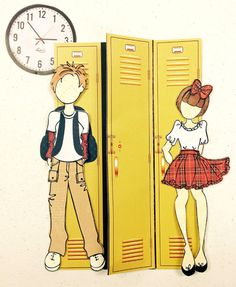 "Danny & Sandy ""School Time"". Created with Prima doll stamps for Treasured Memories, Lafayette, La"