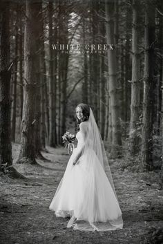 Forest Bridal Session by White Creek Photography #forest #bridal #vintage #blackandwhite #grunge #textures #wedding #weddingdress #portraits #bridalportraits #woods #trees #photography #weddingphotography