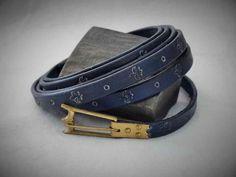 blauer Gürtel, punziert - blue belt, hallmarked