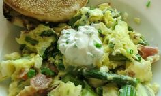 Gour-Maybe?: Prosciutto, Asparagus, and Feta Scramble with Lemon Chive Cream
