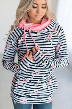 DoubleHoodTM Sweatshirt - Distressed Floral Stripe- Feminine and cute for spring! #ad