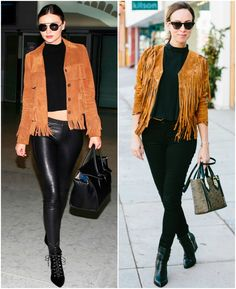 Sydne Style - People StyleWatch contributor Sydne Summer shows how to style Miranda Kerr's Saint Laurent Suede Fringe Jacket in celebrity fashion. Stylish Work Outfits, Casual Outfits, Fashion Outfits, Black Outfits, Celebrity Outfits, Celebrity Style, Miranda Kerr Style, Dress Up Outfits, Kendall Jenner Outfits