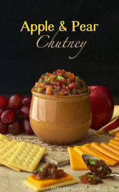 Apple & Pear Chutney - makes a fabulous appetizer with crackers &cheese or spooned over cream cheese - but is also amazing served over any type of pork. Great with yogurt too! Actually there's a zillion ways to enjoy this delicious chutney.