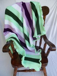 handmade crocheted green purple lavender afghan, blanket, throw. machine wash dry. pet smoke free. crochet large. baby via Etsy