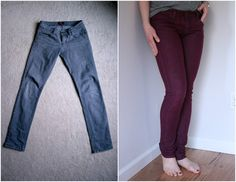 Before and after of a jeans-dying project to make burgundy jeans