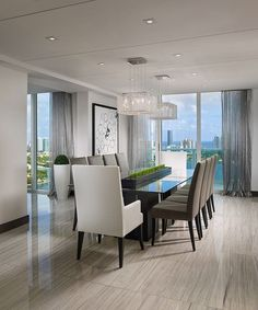 contemporary penthouse apartment situated in miami florida designed by guimar urbina of kis interior - Modern Dining Room Decor Ideas