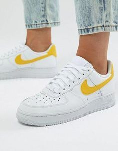 66ffc9e4bedc Nike Air Force 1 Trainers In White And Yellow -  Air  Force  Nike