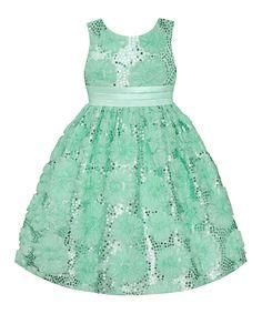 Spring Green Sequin Flower Dress - Infant & Girls by American Princess #zulily #zulilyfinds